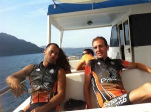 Luismi y Fran en el barco a la graciosa